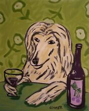 Afghan Hound art Print- dog Gift - modern folk -wine art - Jschmetz 13x19