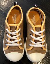 OshKosh B'Gosh Boys Girls Brown Canvas Slip On Converse Low Tops Shoes 1 (M)