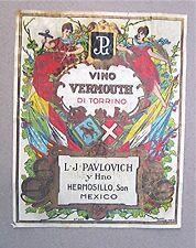 Vintage Wine Labels -- Vino Vermouth Di Torrino - Mexico