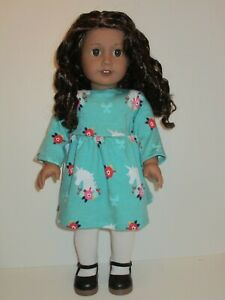 """Unicorn & Flowers Long Sleeve Knit Dress for 18"""" Doll American Girl Doll Clothes"""