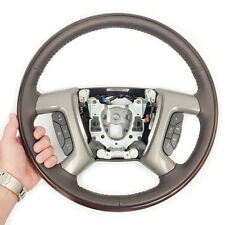 New GM OEM Coco Leather Wood Ring Steering Wheel 09 GMC Yukon, Sierra #25853089