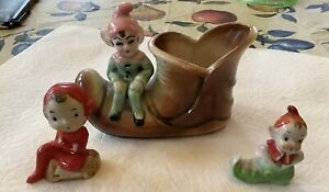 Vintage Ceramic Elf Pixie Sitting on  Boot Planter Plus 2 Small Pixies Japan