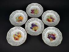 "Schumann Reticulated Fruit Plates 6pc Set, Vintage Ebeling & Reuss Pierced 7.5"""