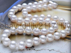 """Genuine Natural 8-9mm Akoya White Cultured Pearl Beads Necklaces 18"""" 20"""" 22"""""""