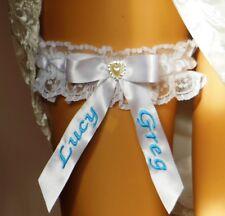 GARTER BOXED. SOMETHING BLUE WEDDING BRIDAL GARTER.  PERSONALISED.