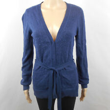 Gadzooks Womens Sweater Top Cardigan Snap Front Belt Blue Angora Rayon L Large