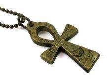 Ankh Pendant, 1 Inch, Antique Brass with Hieroglyphs on Ball Chain #CV-NE-462