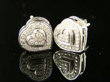Ladies Heart White Gold Finish Diamond Earrings Stud