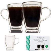 2x DOUBLE WALL THERMO GLASS LATTE TEA COFFEE DRINK CAPPUCCINO CUPS MUGS W HANDLE