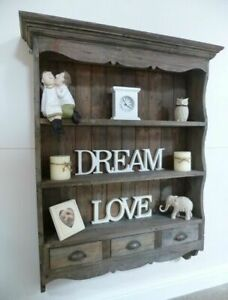 Large Farmhouse Wooden Wall Rack In A Weathered Oak Finish