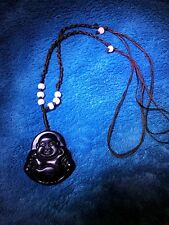 """100% Natural Green Jade """"Happy Buddha"""" Pendant Necklace with Gift Box"""