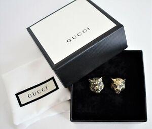 🆕️ New in Box Authentic GUCCI Aged Gold-Tone FELINE HEAD Cufflinks Cuff Links