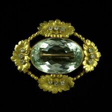 Georg Jensen. 18k Gold Brooch with 12 Diamonds and Aquamarine #49. 1904-08