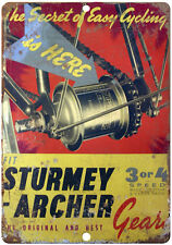 """Sturmey bicycle gears vintage advertising 10"""" x 7""""  reproduction metal sign"""