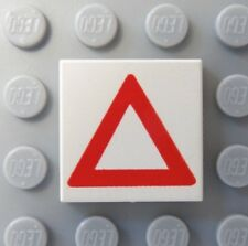 LEGO Tile 2 x 2 with Red Warning Triangle Pattern 6742 6450 6600 6397 6670 9371