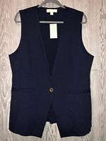 MICHAEL KORS Woven One Gold Button Navy Blue Casual Vest NEW NWT Womens Sz 12