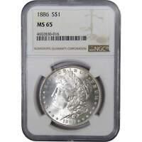 1886 $1 Morgan Silver Dollar US Coin MS 65 NGC