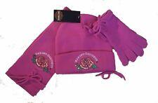 Harley-Davidson Girls Knit Winter Hat Gloves & Scarf Gift Set 4-14 Pink Rose