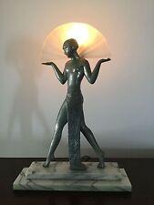 VINTAGE SARSAPARILLA MAX LE VERRIER - ART DECO MARBLE BASE SEMI NUDE LAMP