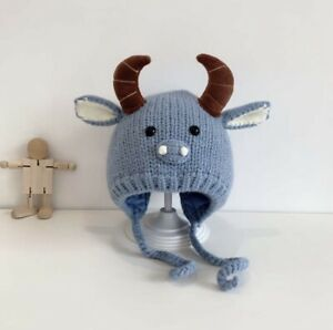 Blue Horn Knight Wool Beanie Hat For Baby 12 -24 Months