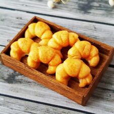 6 Croissant Bread Wooden Wood Tray Dollhouse Miniatures Food Bakery Supply Loose