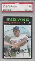 1971 Topps baseball card #552 Buddy Bradford Cleveland Indians PSA 7 NM