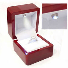 Cherry Polish Diamond Jewelry Ring Box with LED Light Engagement Wedding FT