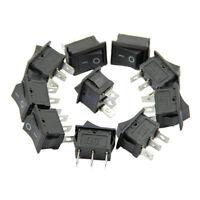 5pcs Black AC 6A/250V 10A/125V 3 Pin Terminal Snap-in On-Off Boat Rocker Switch