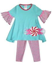 New Girls Boutique Peaches n Cream 12m Aqua PEPPERMINT Holiday Outfit Christmas