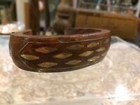Vintage antique mid century modern cuff bracelet Wood brass