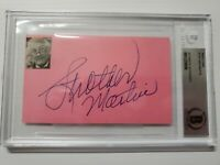 STROTHER MARTIN SIGNED INDEX CARD COOL HAND LUKE ENCAPSULATED BECKETT BAS