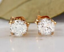 0.40Ct Natural Diamond 14k Solid Yellow Gold Stud Earrings