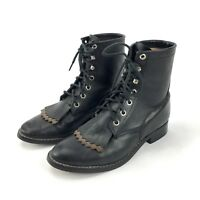 New Smoky Mountain Youth Child Lace Up Paddock Boots BROWN Elastic Horse Riding