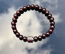 GARNET JAPA MALA BRACELET ROSARY Natural Gemstone Buddha BEADS ENHANCES STRENGTH