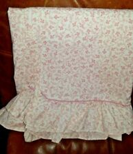 Laura Ashley Queen Flat Sheet with Ruffle Edge - Pink Susanna Pattern