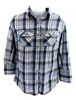 SUPERDRY Womens Shirt S Small Blue White Check Cotton 3/4 Sleeve