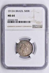 1913A Brazil 500 Reis NGC MS 64 Witter Coin