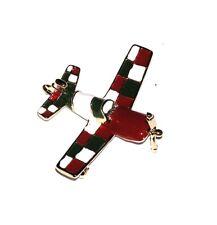 BROOCH/PIN GT Enamel Airplane Aviation RED GREEN WHITE AEROBATIC PLANE