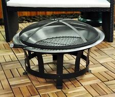 Outdoor BBQ Firepit Heater Patio Garden Fire Bowl Basket Steel Kingfisher