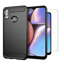 For Samsung Galaxy A10s Case Carbon Fibre Cover & Glass Screen Protector