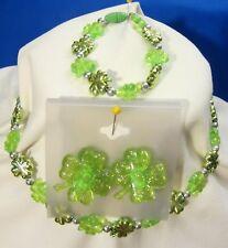 Saint Patrick Children Necklace Bracelet & Clip On Earring Set Green Plastic 16