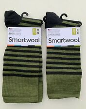 2 x New Smartwool Mens Green Loden Striped Spruce Street Crew Socks Sz M