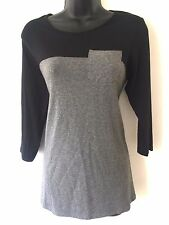 M&S Woman Grey & Black Jersey Top with Pocket Size 20