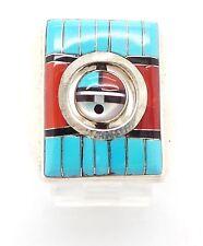 Zuni Sterling Silver Multi-Stone Inlay Rotating Sun Face Ring Size 11 - Don Dewa