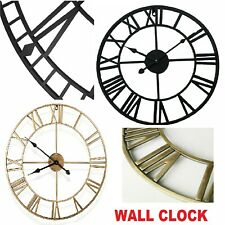 More details for 40cm large wall clock garden home roman numerals open face outdoor vintage round