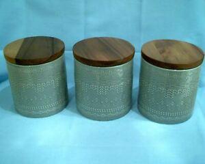 Sainsbury's 2019 Global Monochrome Ceramic Storage Jars 3pcs Grey Retro wood New