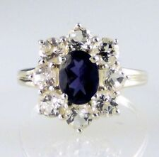 Genuine Iolite & sparkling White Topaz  Ring  925  Sterling Silver 3.65CT Size 7