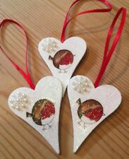 3 X Robin Christmas Hanging Decorations Country Shabby Chic With Snowflakes Red