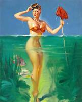 Vintage GIL ELVGREN Pinup Girl QUALITY CANVAS PRINT Poster Sexy Bather ~ A4