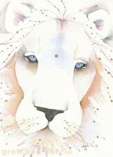"ACEO Giclee PRINT watercolor 2.5"" x 3.5"" Delrio spirit totem lion 'White King'"